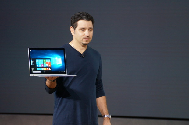 Microsoft's Panos Panay unveils the Surface Book in New York today. (GeekWire Photo, Jacob Demmitt)