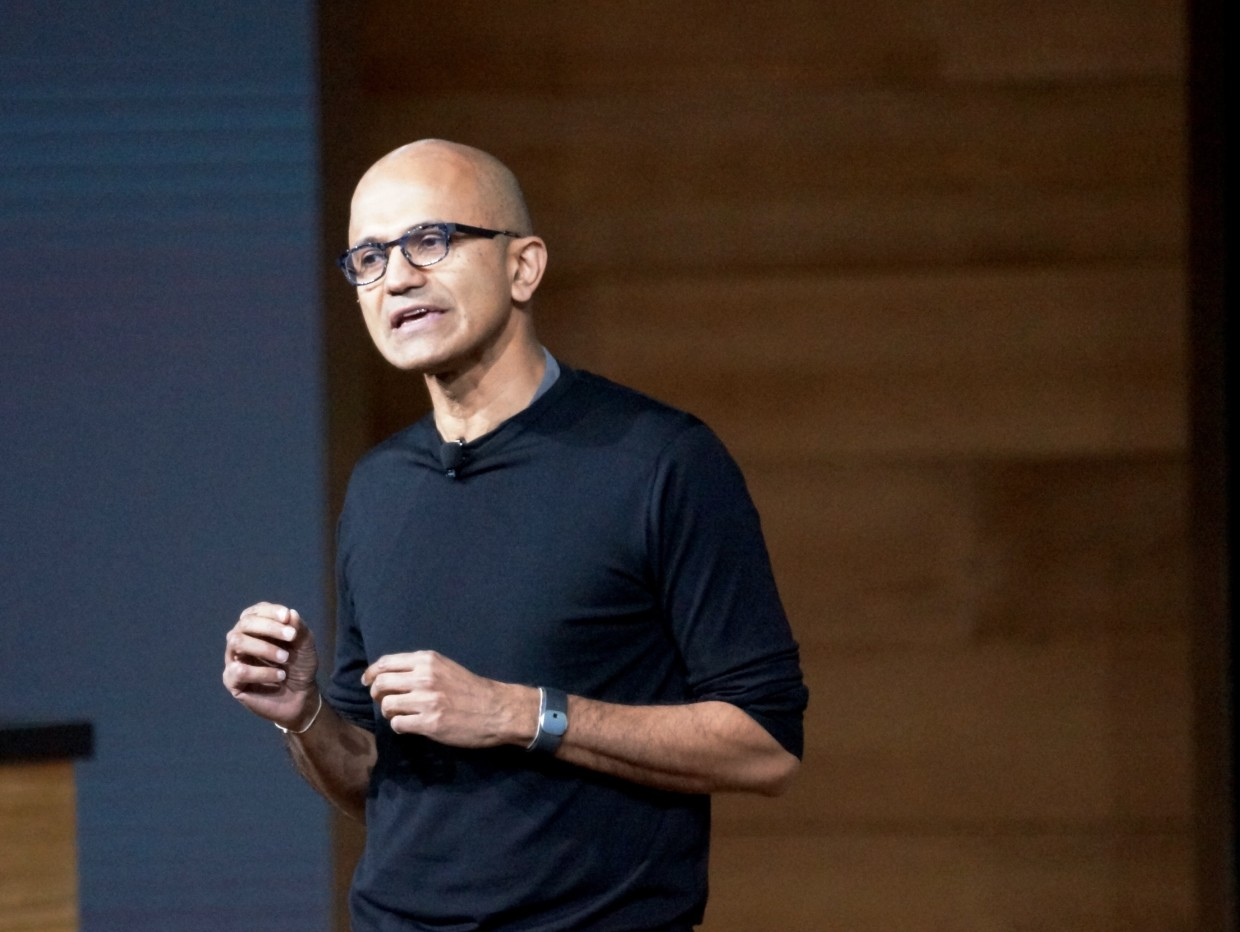 Microsoft CEO Satya Nadella speaks at a hardware press event in New York City.