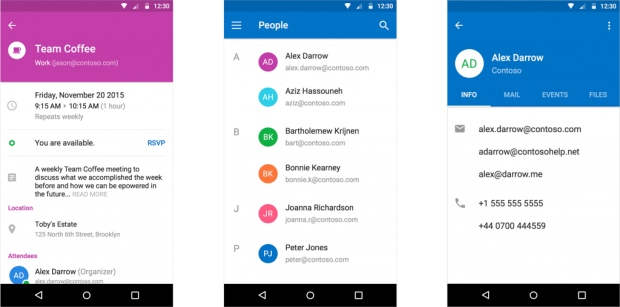 Outlook for Android's material design