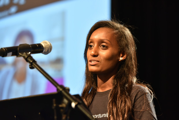 Rutha Nuguse, a recipient of the Washington State Opportunity Scholarship award, speaks at GeekWire Summit.
