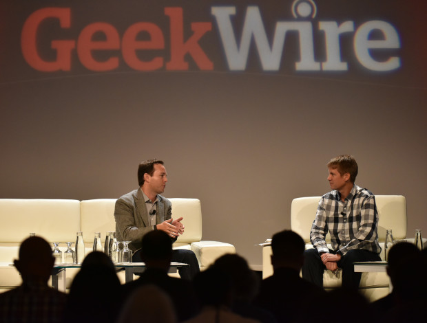 Zillow CEO Spencer Rascoff and GeekWire co-founder John Cook.