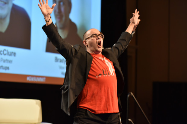 500 Startups founder Dave McClure leads the GeekWire Summit audience in 'power moves'