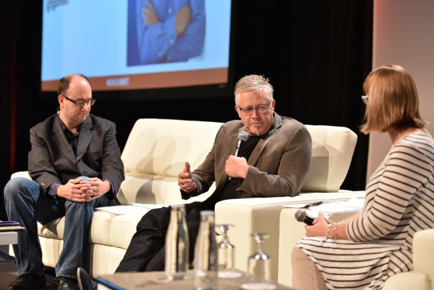 Tom Gonser, DocuSign's Founder and chief strategy officer, appears onstage at the GeekWire Summit with GeekWire's Todd Bishop and Tricia Duryee.