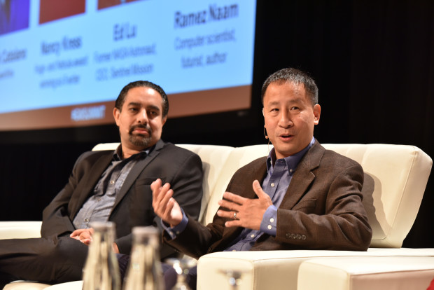 Former astronaut Ed Lu (right) at the 2015 GeekWire Summit.