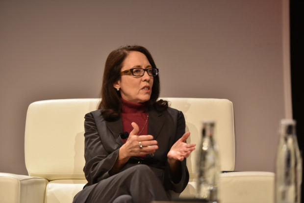 Sen. Maria Cantwell on stage at the 2015 GeekWire Summit.