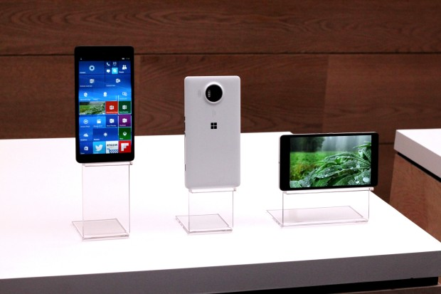 New smartphones unveiled by Microsoft at a press event on Tuesday.