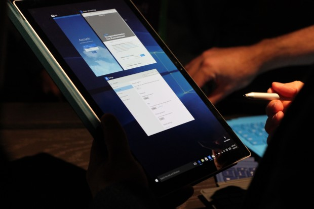 Microsoft's new Surface Book being used as a tablet.