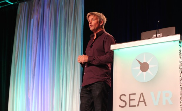 Second Life founder Philip Rosedale speaks at the 2015 SEA VR conference.