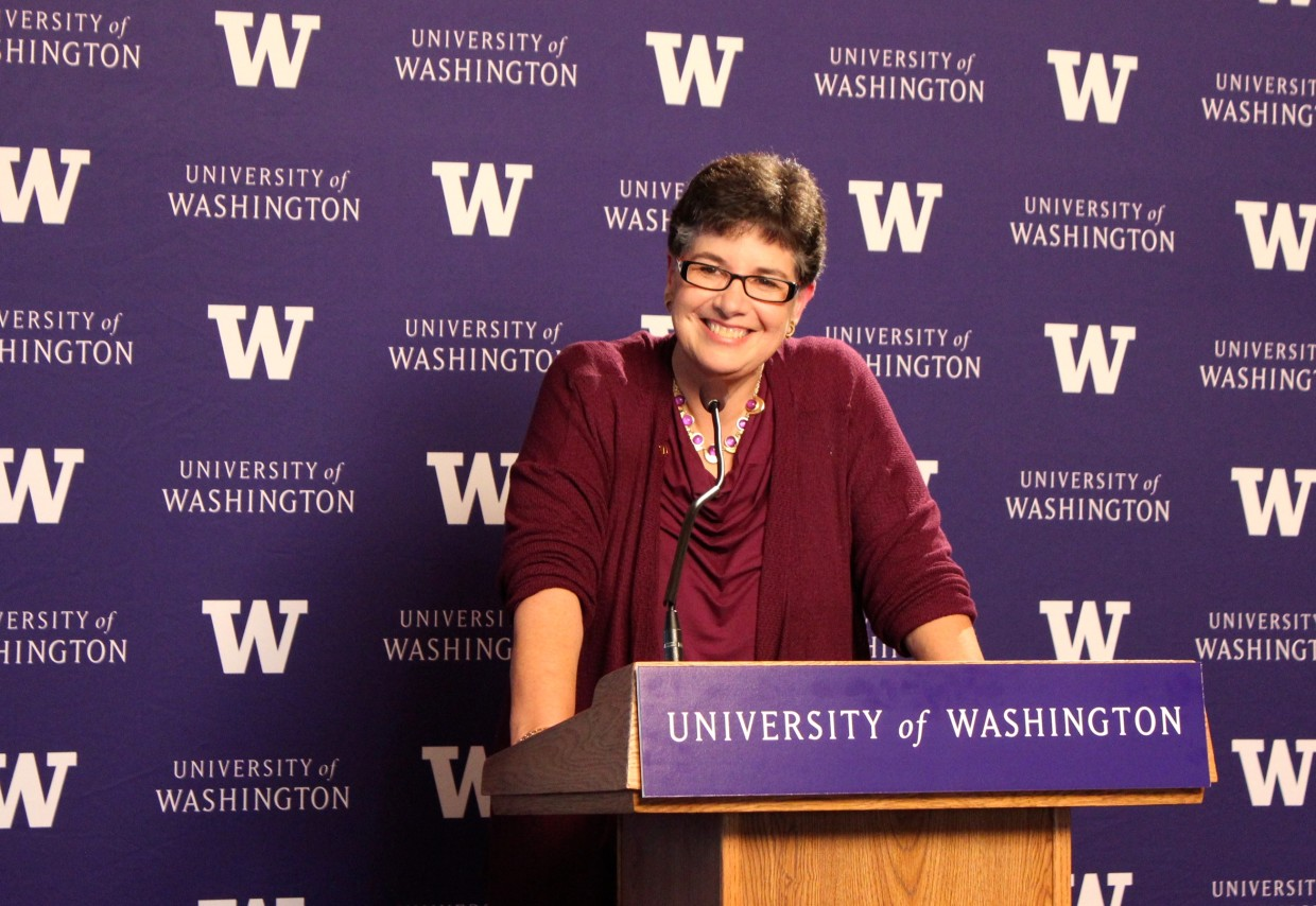 New UW president Ana Mari Cauce takes questions from media members on Tuesday afternoon.