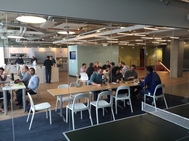 Employee cafeteria inside the new Impinj headquarters.