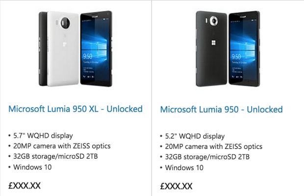 Lumia 950 and Lumia 950 posted on Microsoft's online store.