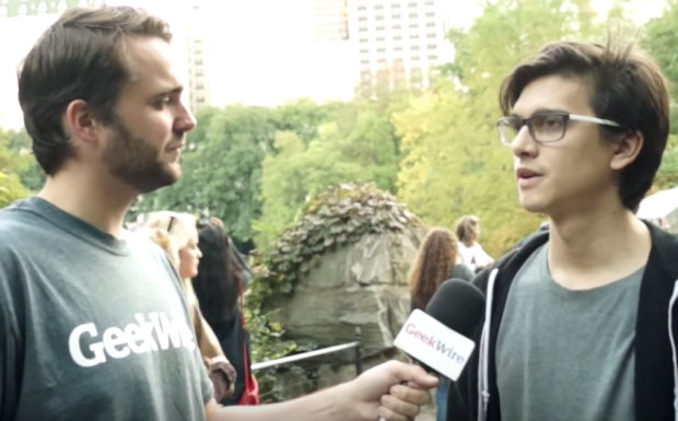 Stephen from Texas stops to talk to GeekWire in Central Park.