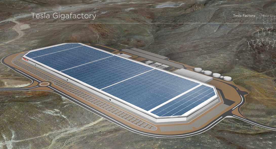 Photo via Tesla of the Gigafactory