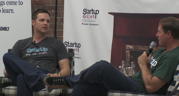 OfferUp CEO Nick Huzar (left) makes a rare public appearance at a Startup Grind event with Mike