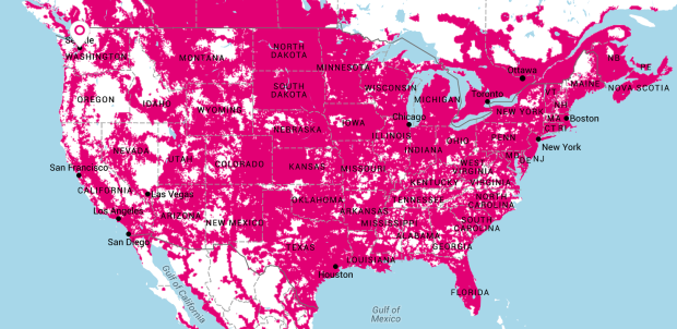 T-Mobile's network can now cover 300 million people, but it ... on go mobile coverage map, go phone user guide, dart phone coverage map, go phone phones,