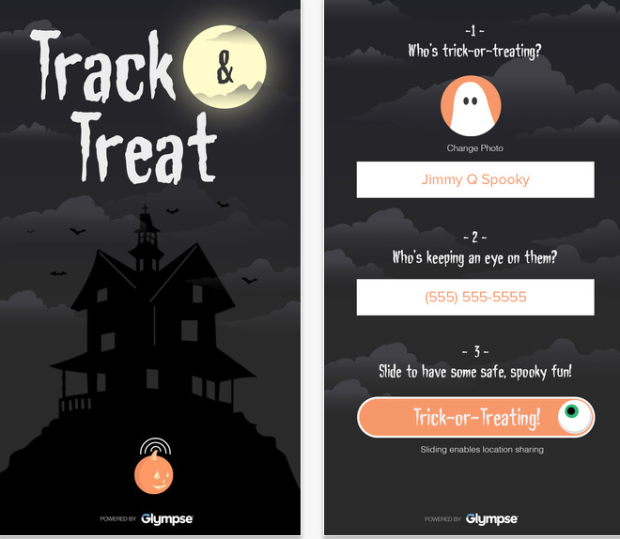 Photo via App Store/Glympse Track & Treat