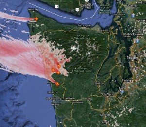 Plume of wildfire smoke from recent blazes displayed on the BlueSky site.