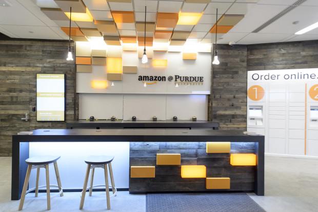 Purdue and Amazon officially opened the Amazon@Purdue pickup and drop-off  site in