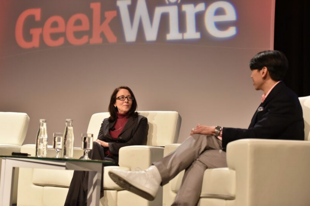 Senator Maria Cantwell at the GeekWire Summit, interviewed by GeekWire Chairman Jonathan Sposato
