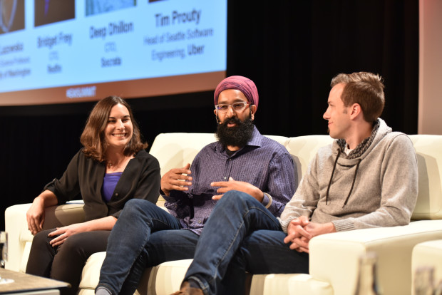 Redfin CTO Bridget Frey, Socrata CTO Deep Dhillon and head of Uber's Seattle engineer office Tim Prouty.