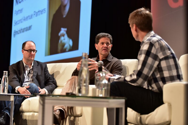 Nick Hanauer of Second Avenue Partners, center, at the 2015 GeekWire Summit