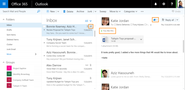 """You can now """"like"""" an email on Outlook"""