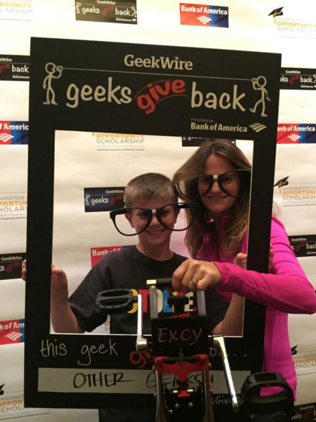 Michele Mehl, with her son Jack, at the GeekWire Summit.