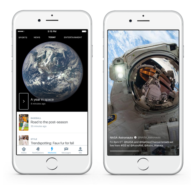Each Moment fills the screen with a single tweeted image, which users can scroll sideways through to get the whole story. Tapping on the tweet reveals more details.