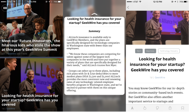 Peeking at a summary and popping into a story with News360's 3D Touch-enabled iPhone app