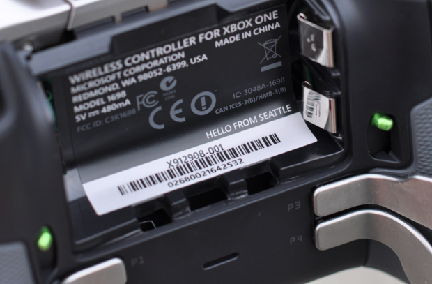A nice little nod to Seattle is hidden inside the Xbox Elite controller's battery compartment