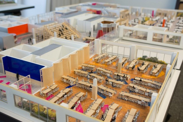 A model of the inside of Facebook's new Seattle office, which is set to open next year.