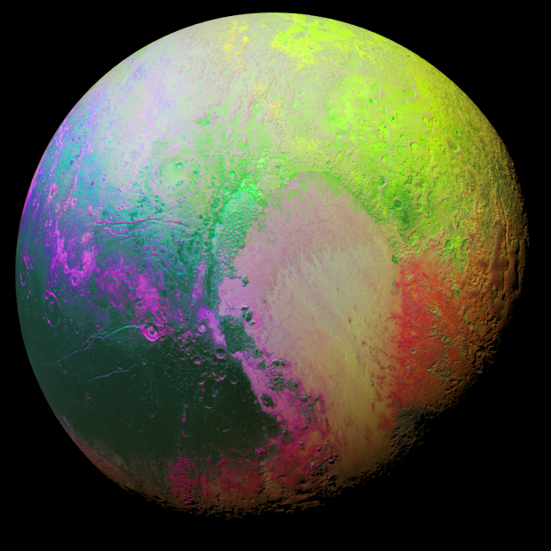This color-coded view uses bright colors to highlight the subtler differences in the look of Pluto's distinct geological regions. (Credit: NASA / JHUAPL / SwRI)