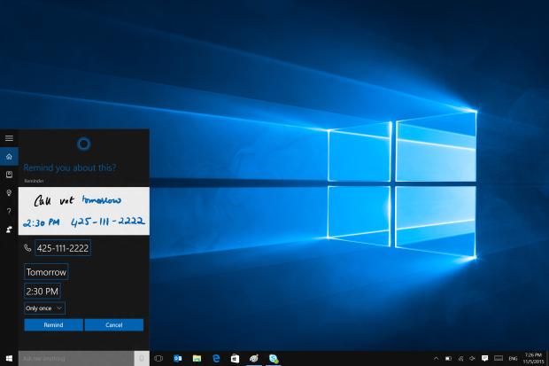 2 - Cortana Pen Reminders - Confirming new reminder