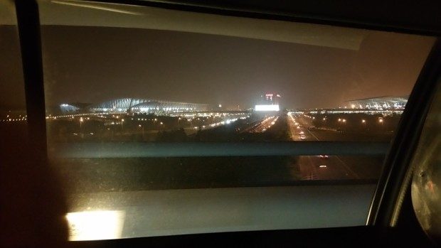Shanghai International Airport, from my taxi.