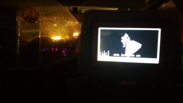 Inside the taxi, which had a tablet for passengers to interact with.
