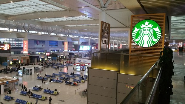 Starbucks inside the Shanghai Hongqiao Railway Station. (GeekWire photo)