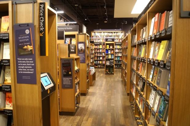 Amazon's bookstore in Seattle. (GeekWire photo).