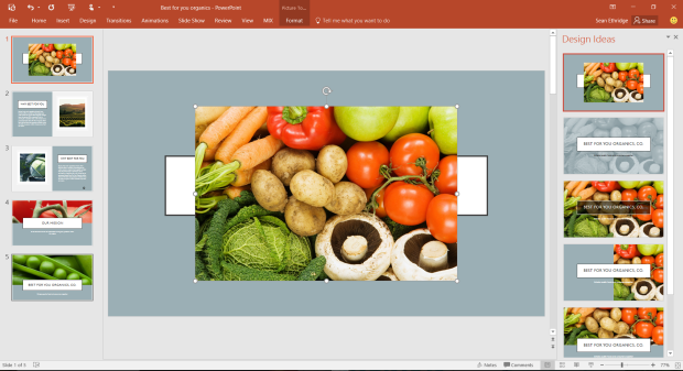 The Designer pane slides in from the right whenever you add an image to a slide