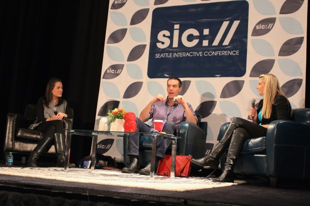 Madrona Venture Group's Julie Sandler, Glowforge's Dan Shapiro, and moderator Shauna Causey speak at a Seattle Interactive Conference panel on Tuesday.