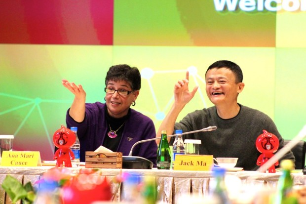 UW President Ana Mari Cauce and Alibaba co-founder Jack Ma participate in a roundtable discussion at Alibaba's headquarters in Hangzhou, China, last year.