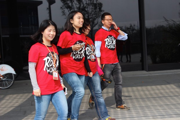 "Alibaba employees wear ""Rock The World"" shirts on campus in anticipation of Singles' Day."
