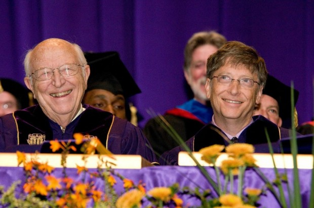 Bill Gates Sr. and Jr. at an event for the University of Washington, Sr.'s beloved alma mater. Photo: Bill & Melinda Gates Foundation.