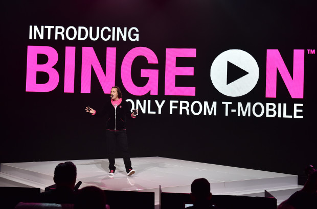 T-Mobile CEO John Legere introduces Binge On during the Un-carrier X. (Photo by Jordan Strauss/AP Images for T-Mobile)