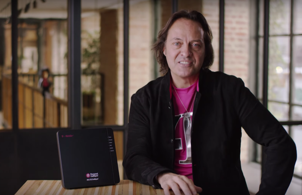 T-Mobile CEO John Legere shows off the new 4G LTE CellSpot.