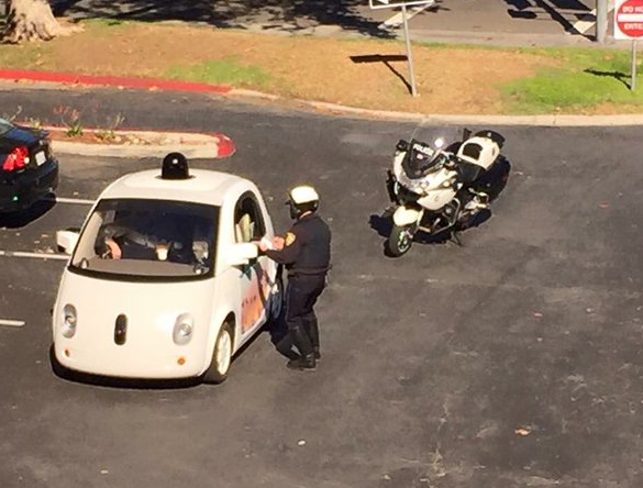 What happens when a self-driving Google car gets pulled over by the