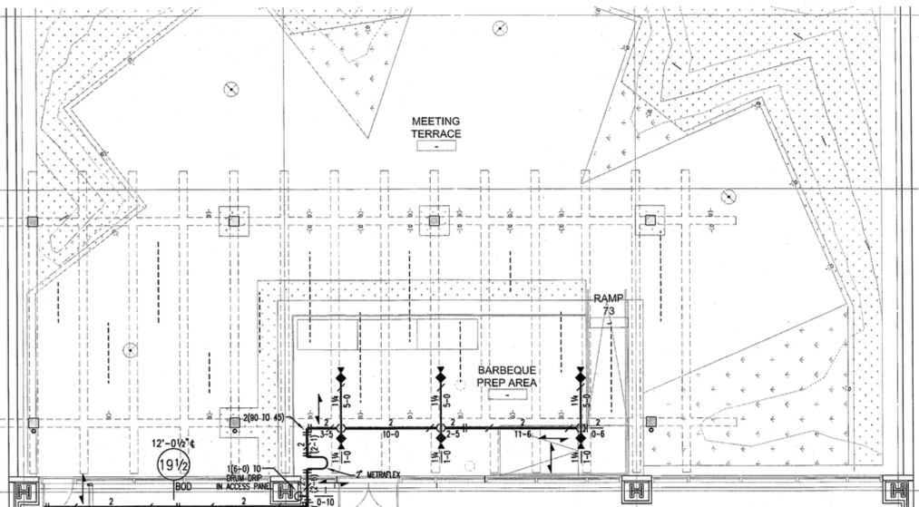 A Closeup Of The Blueprints Showing One Of Facebooku0027s Outdoor Areas At Its  New Seattle Office