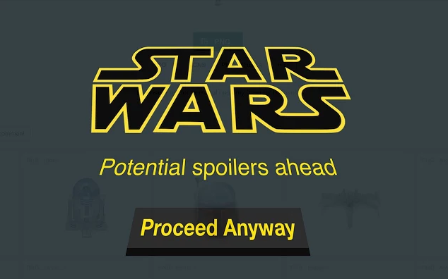 Photo via Google Chrome/Jitbit Star Wars spoiler blocker