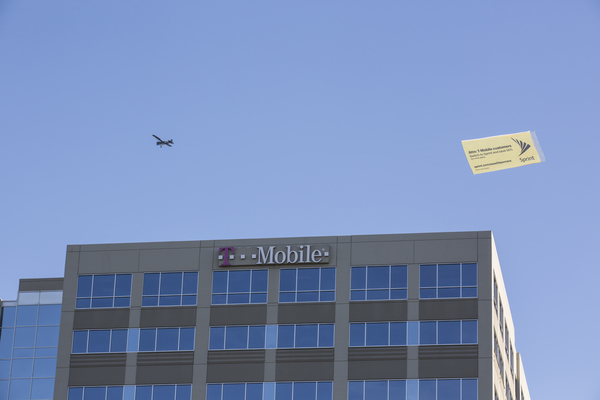 A Small Plane Flies Over T Mobile Headquarters On Friday Nov. 20, 2015