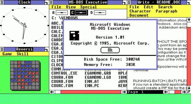 Windows 1.0. Image via Microsoft/Wikipedia
