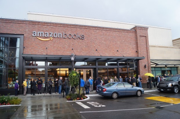 Amazon's Seattle bookstore. (GeekWire Photo).